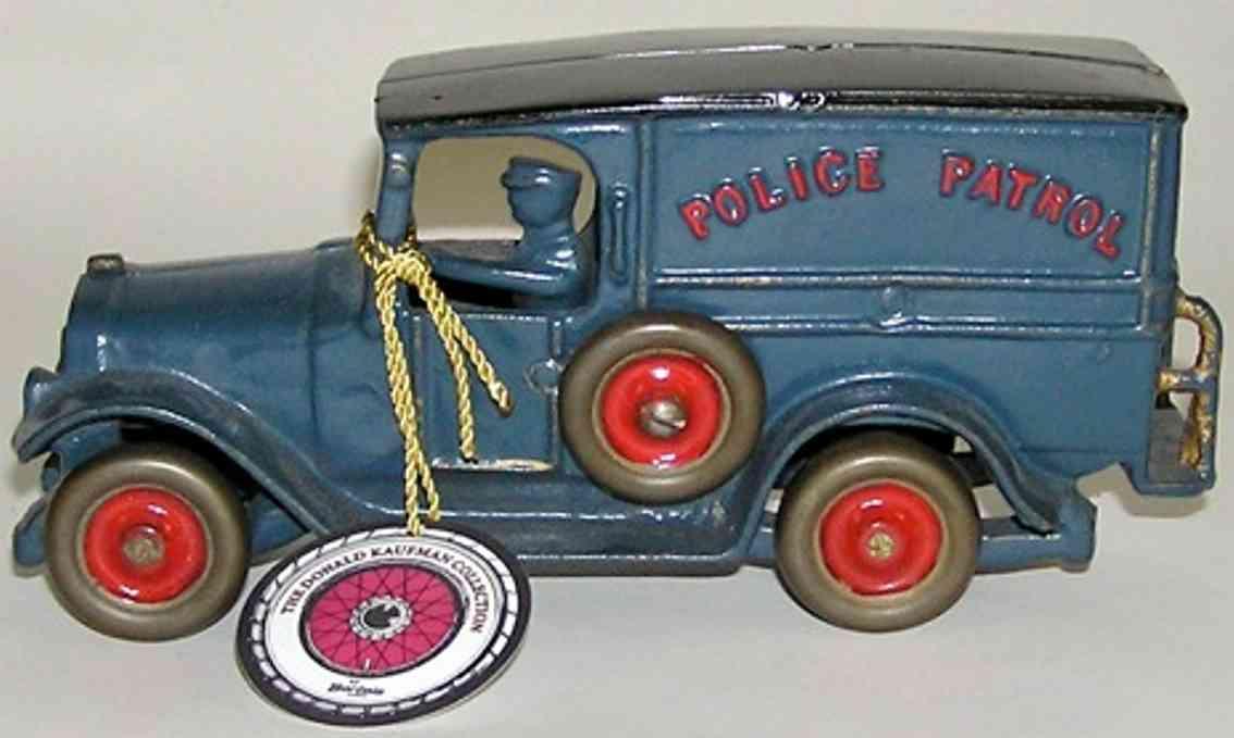 dent hardware co spielzeug gusseisen lastwagen polizeilieferwagen blau