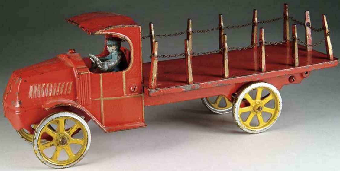 dent hardware co spielzeug gusseisen lastwagen lastwagen mit rungen und kette, rot emailliert mit goldfarbe