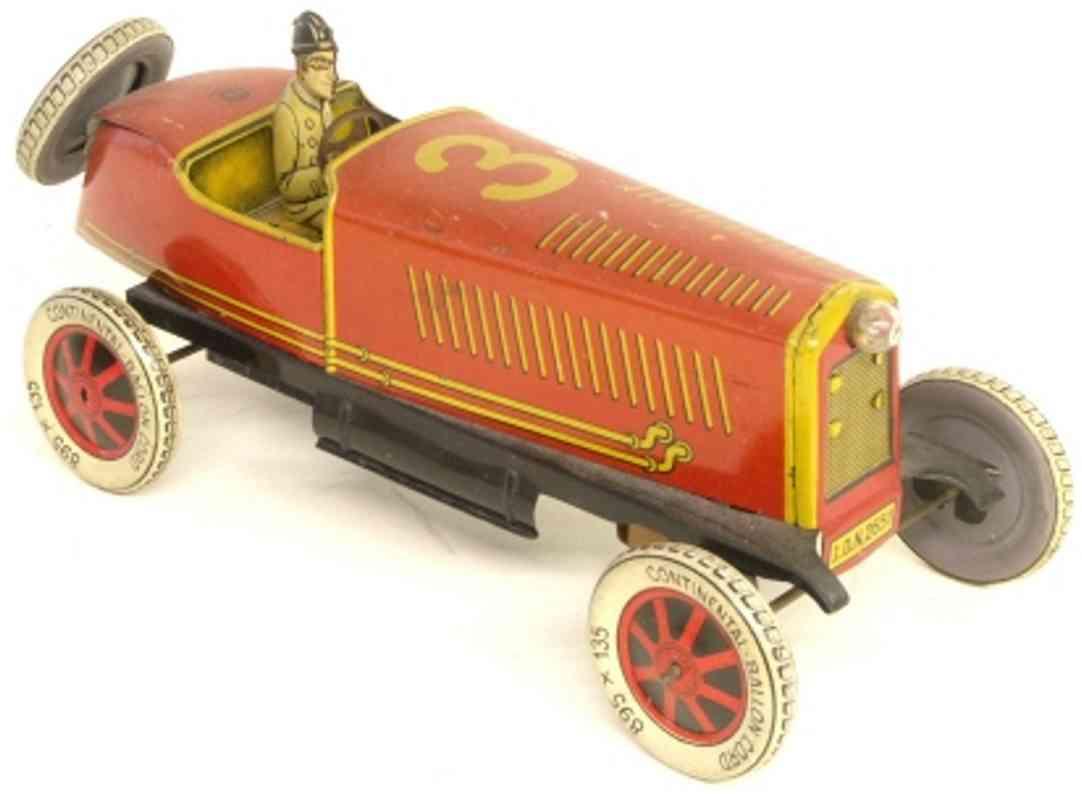 distler johann 2651 blech spielzeug rennauto rennwagen mit fahrer rot gelb uhrwerk