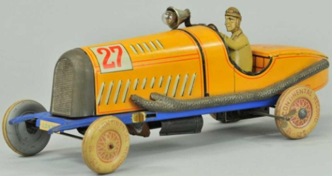 distler johann 27 blech spielzeug rennauto rennwagen gelb fahrer uhrwerk