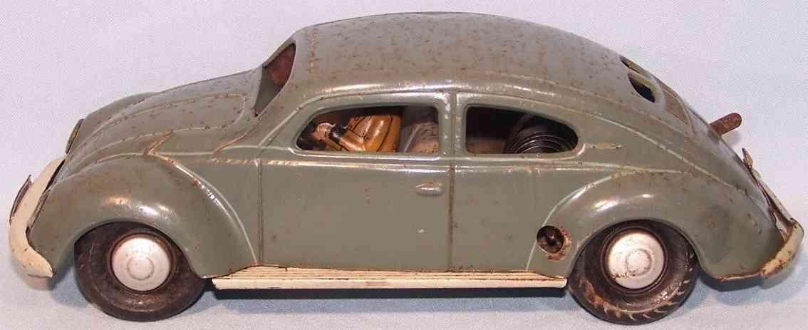 distler johann 307300 tin toy car vw pretzel beetle clockwork brown