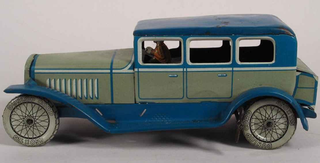 distler johann 3748 blech spielzeug auto limousine uniformierter chauffeur uhrwerk blau