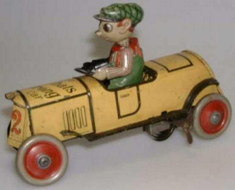 distler 542 a blech spielzeug auto komische figur uhrwerk