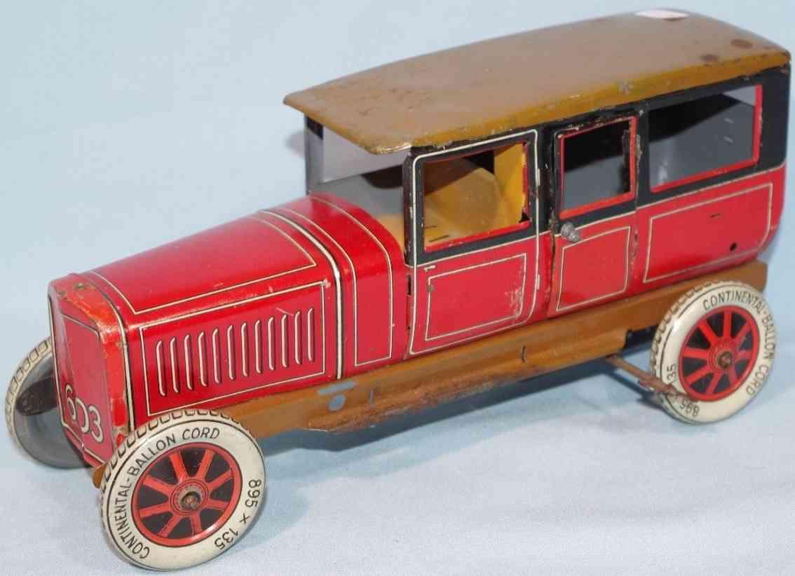 distler 603 blech spielzeug auto reiselimousine rot braun uhrwerk