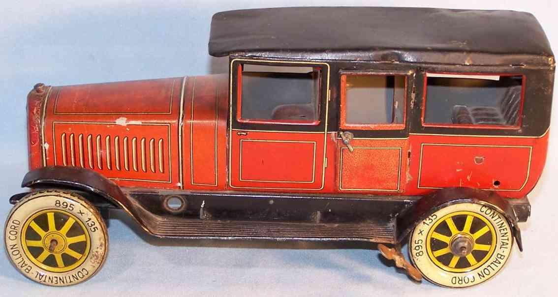 distler johann 649 tin toy car limousine red black spring mechanism
