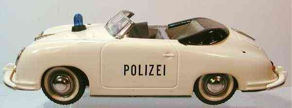 distler johann blech spielzeug auto electromatic 7500 porsche 356 police polizei weis