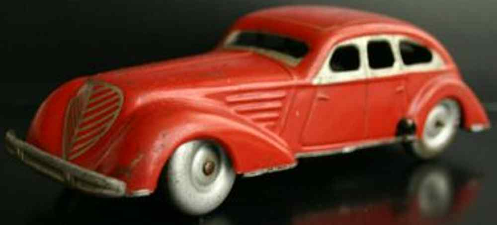 distler johann tin toy car red coupe with clockwork