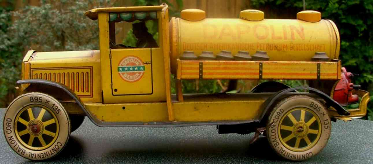 distler 598 tin toy dapolin tanker truck with clockwork yellow red