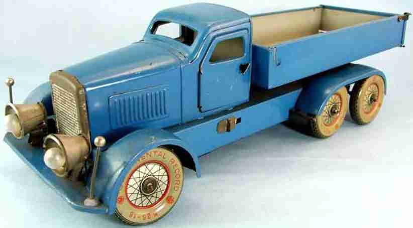 distler johann blech spielzeug lastwagen blau mit uhrwerk