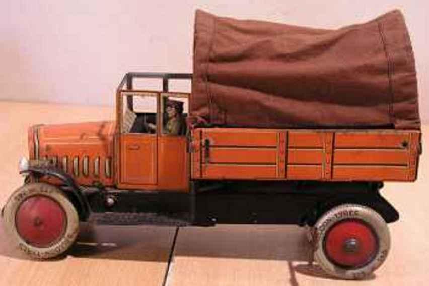 distler 608 tin toy dump truck chaffeur tarpulin