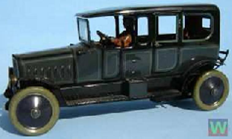 distler johann blech spielzeug auto limousine  fahrer uhrwerk