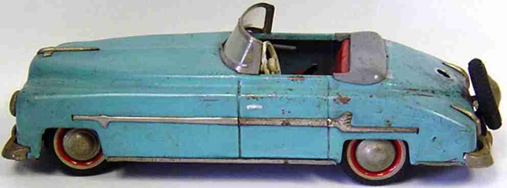 distler johann packard cabriolet tin toy car blue gear shift