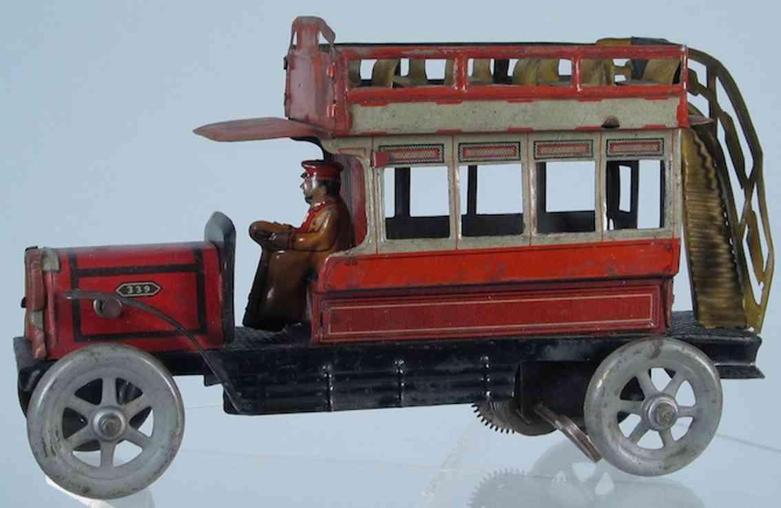 distler blech spielzeug autobus doppeldeckerbus mit fahrer und uhrwerk, lithografiert