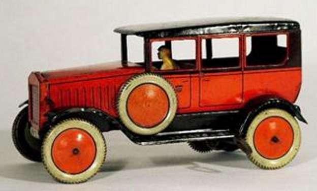 distler johann 618/0 blech spielzeug auto limousine rot schwarz fahrer