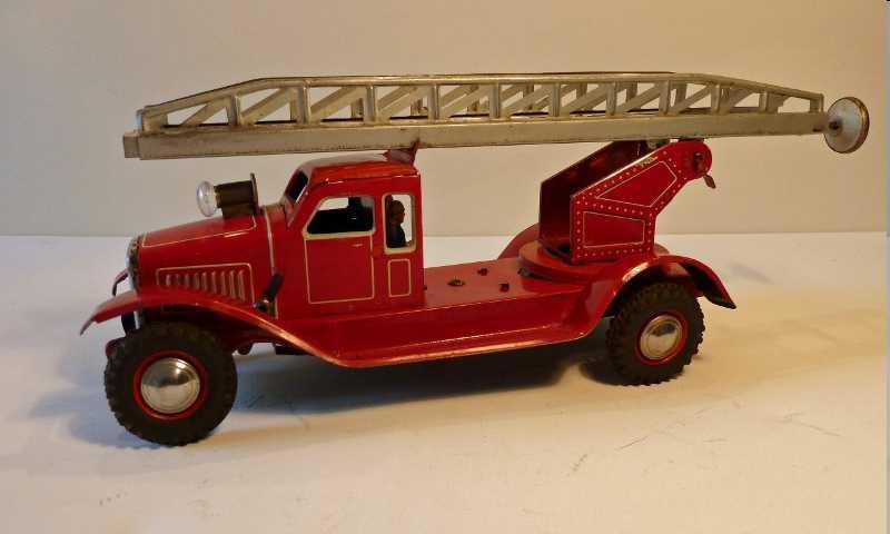 distler johann tin toy fire engine ladder department car with clockwork