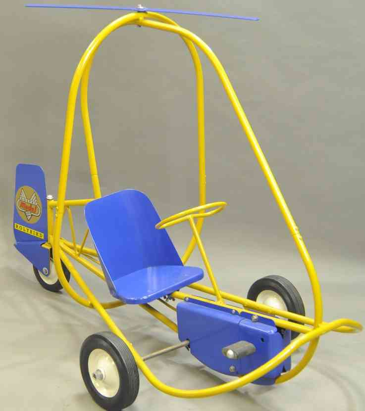 doepke tin toy car rolybird blue yellow