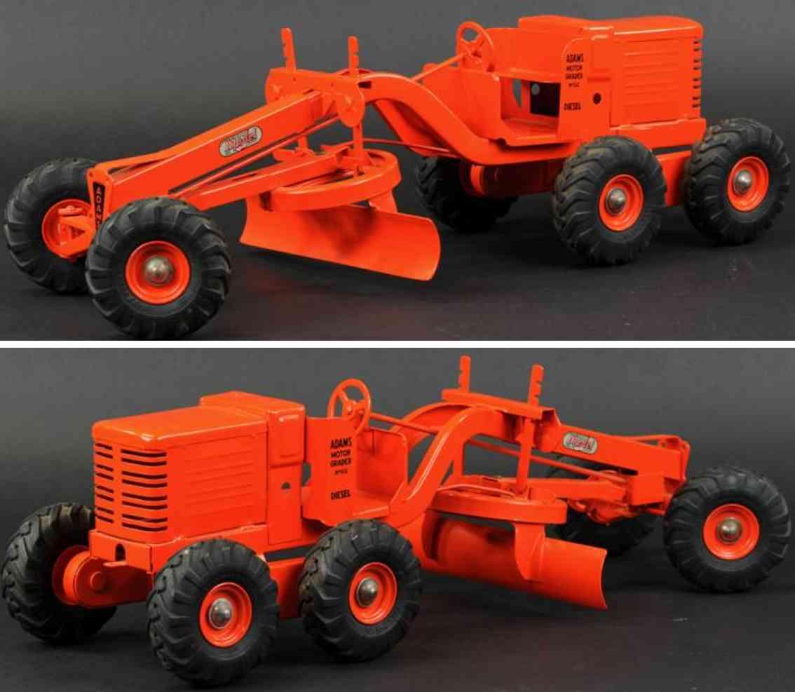 doepke adams grader pressed steel toy orange