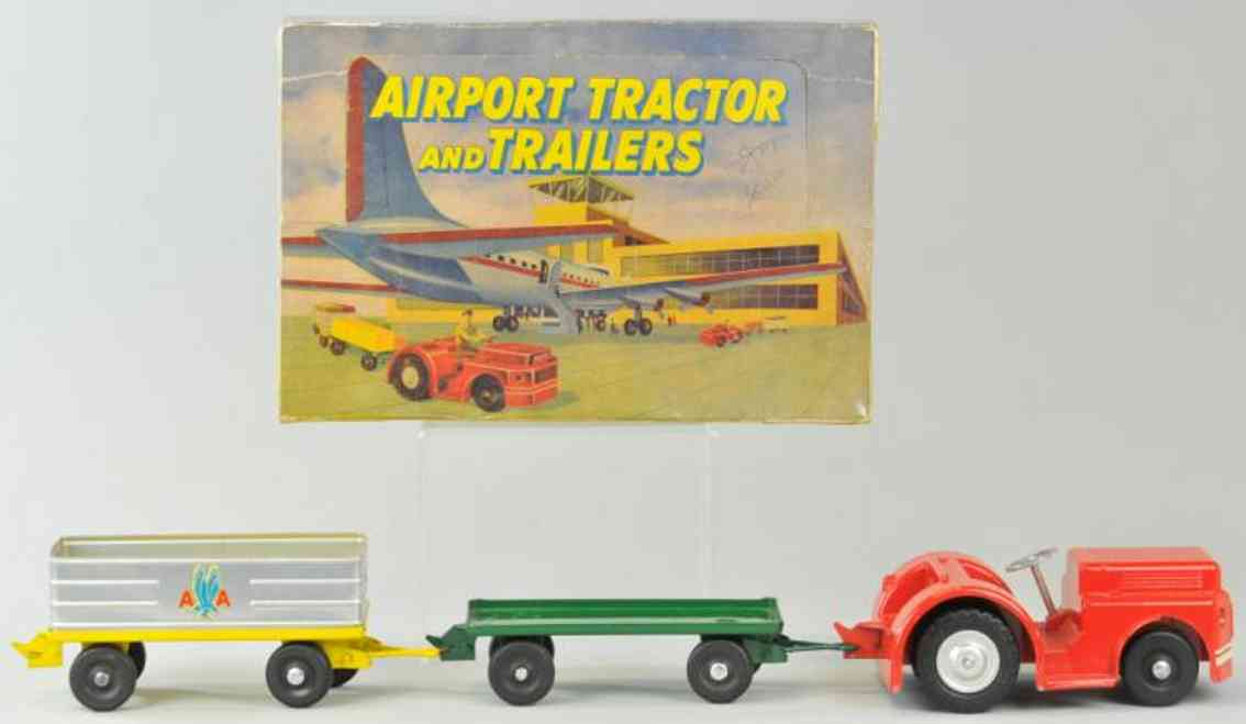 doepke tin toy airport tracor and trailers set