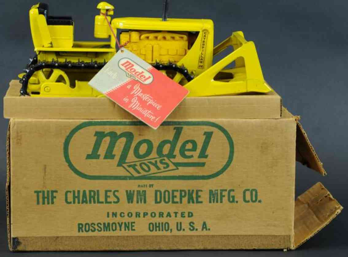 doepke pressed steel toy caterpillar bulldozer yellow