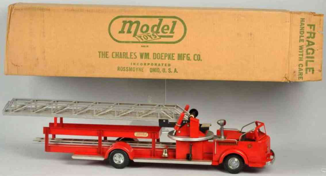 doepke pressed steel toy fire ladder truck red