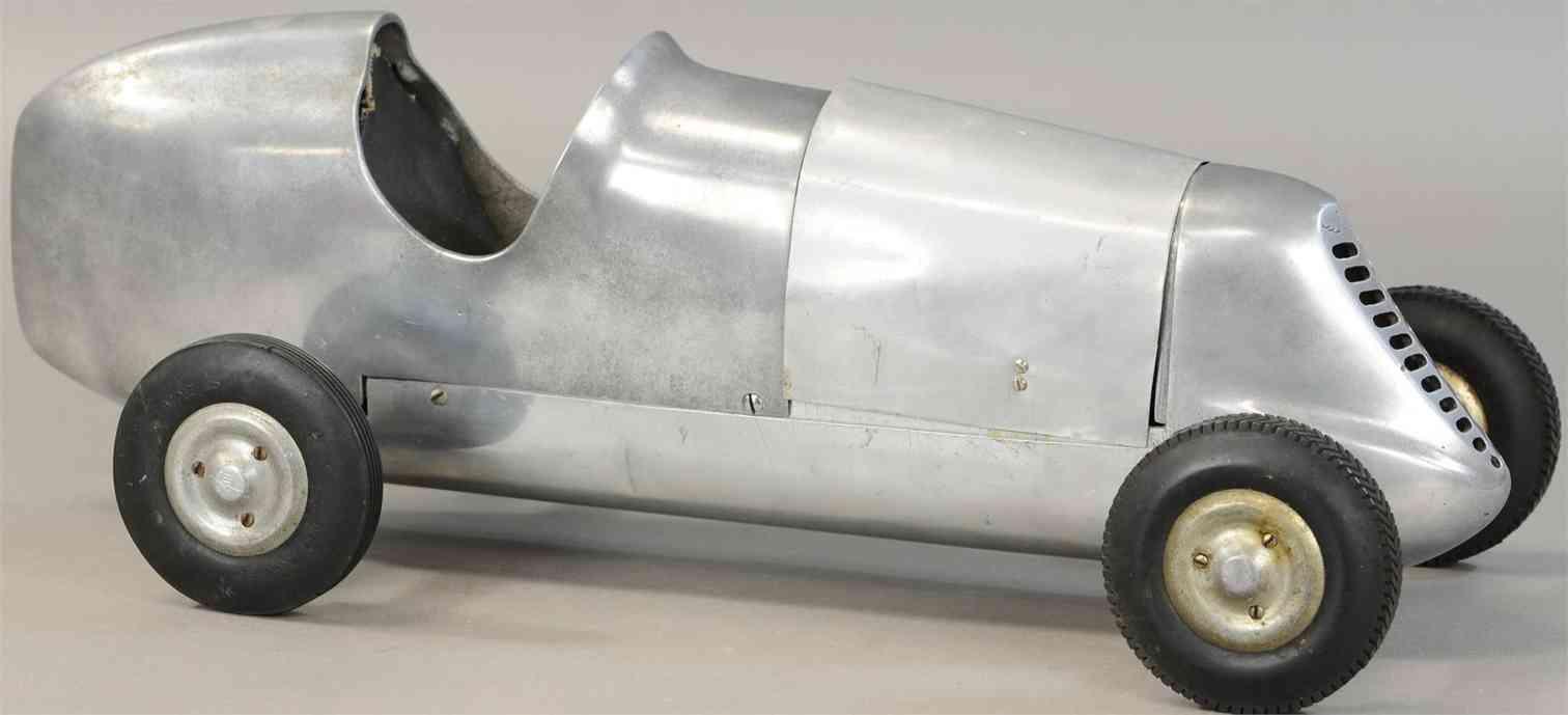 duesenberg motor company dmc tin toy race car silver tether car