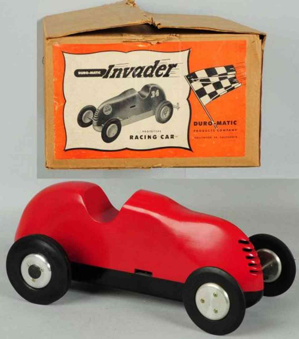 duro-matic products co pressed steel toy duro-matic invader race car