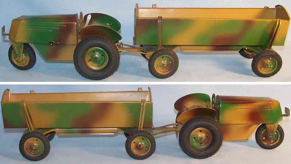 erco 1950a tin toy three wheeled tractor trailer clockwork