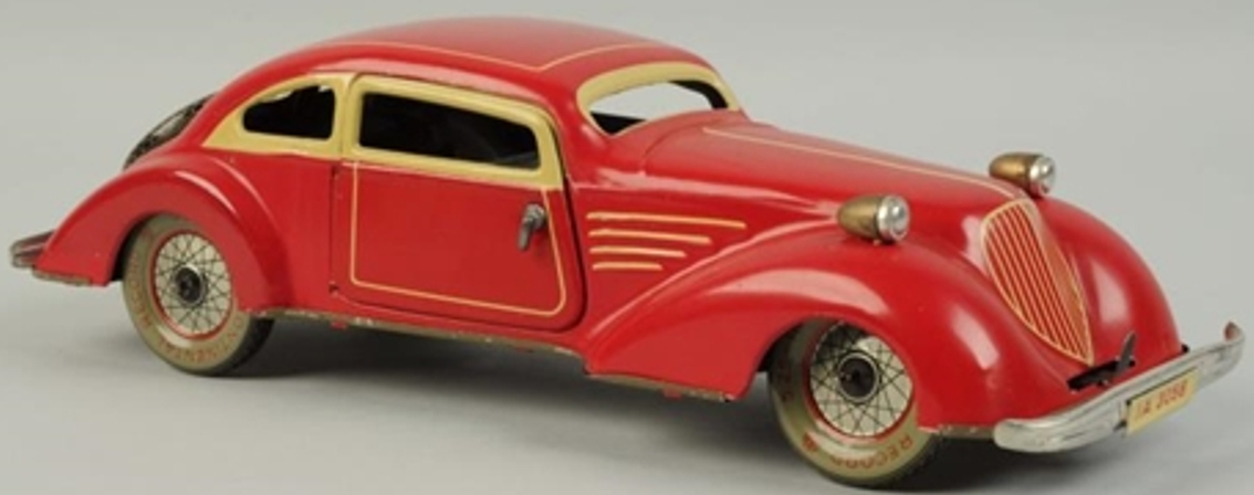 eberl hans tin toy car coupe with wind-up ia3058 red