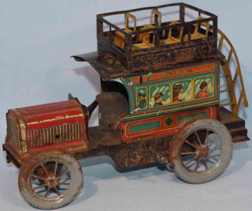 eberl hans tin toy double-decker bus clockwork drive