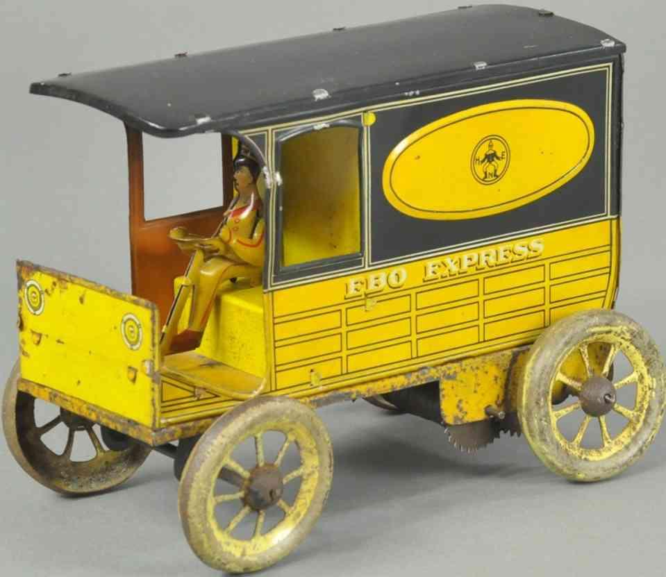 eberl hans blech spielzeug express lieferwagen gelb schwarz ebo express