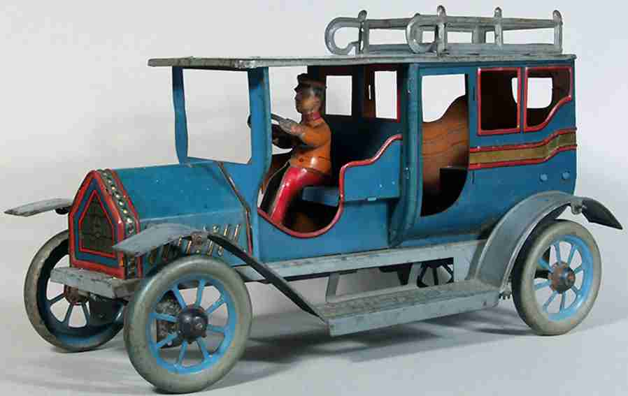eberl hans blech spielzeug auto limousine mit fahrer blau uhrwerk