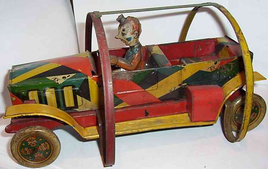 eberl hans tin toy car topsy turvy tom clown car