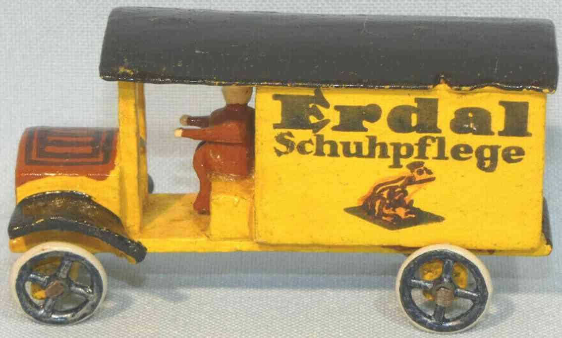 erzgebirge holz spielzeug auto erdal werbelastwagen gelb schwarz