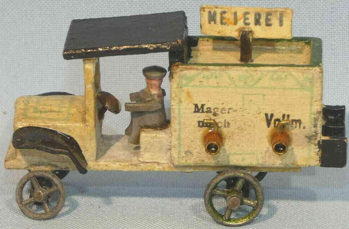 erzgebirge holz spielzeug auto milchwagen meierei aus holz und metall