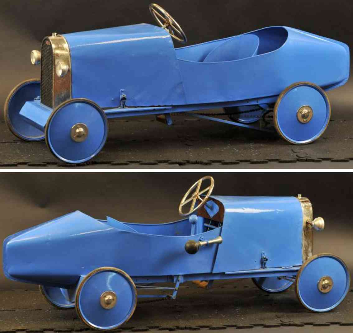 eureka brevete sgdg stahlblech rennwagen tretauto blau