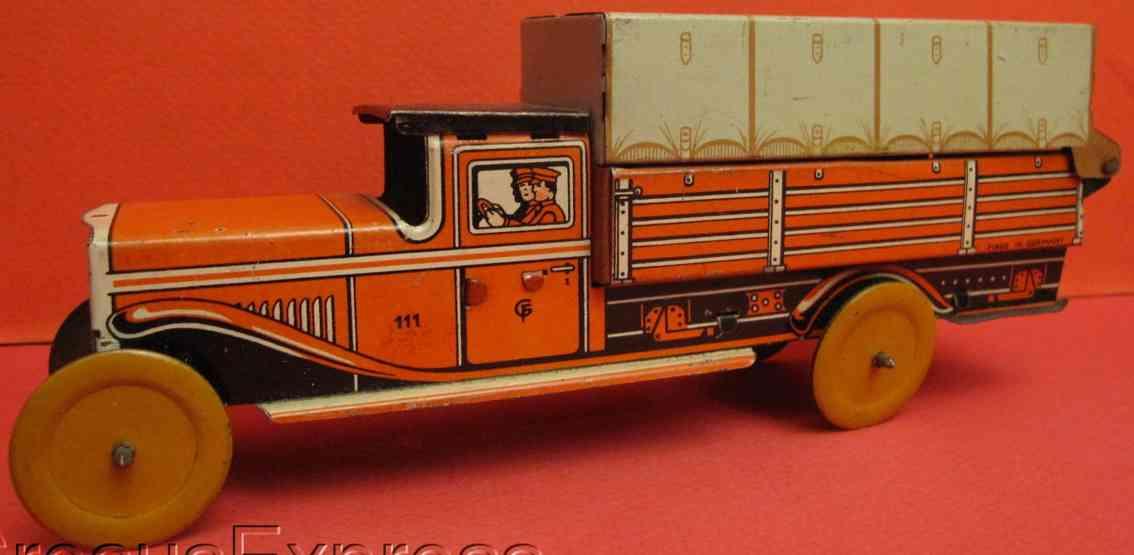 fischer georg 111 blech spielzeug lastwagen lastwagen lithografiert, der hintere teil ist gedacht zur au