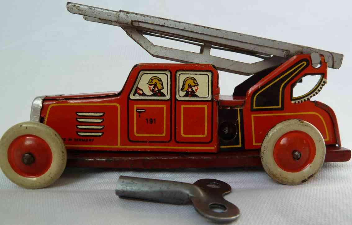 fischer georg 191 blech spielzeug feuerwehrleiterwagen