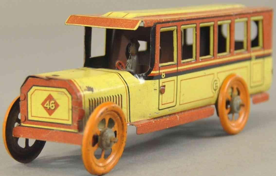 fischer georg 46 blech spielzeug autobus gelb braun