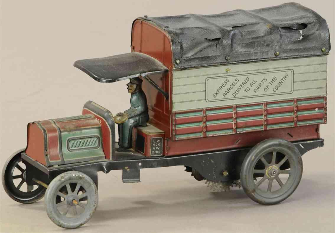 fischer georg blech spielzeug lieferwagen mit zeltdach und fahrer