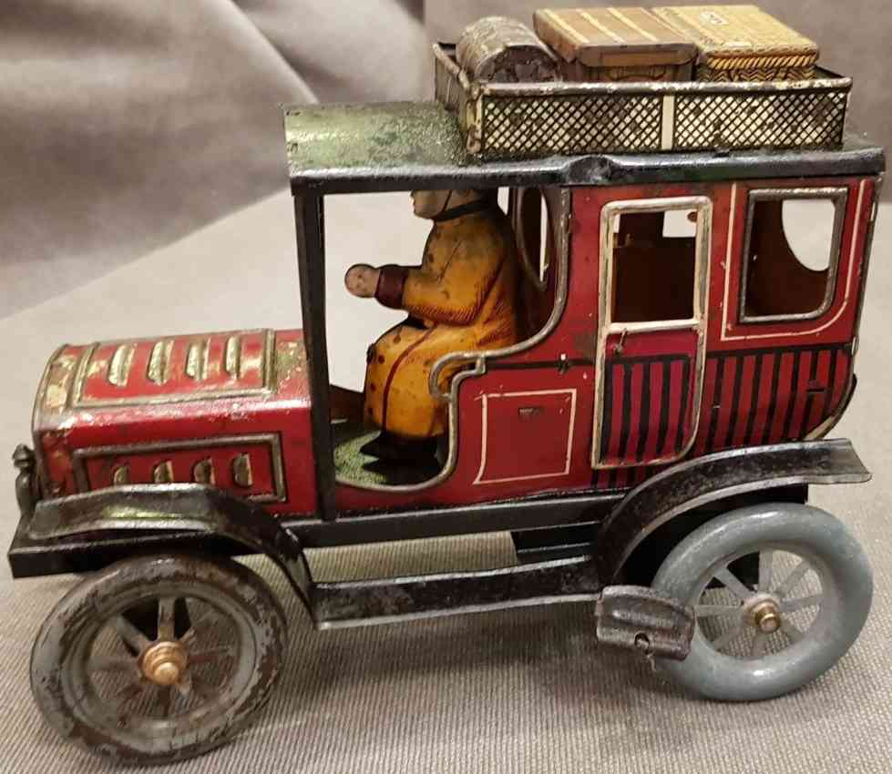 fischer georg tin toy car limousine with driver clockwork luggage rack