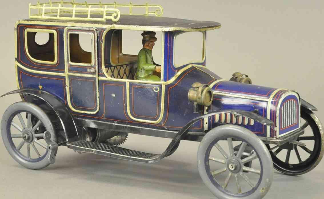 fischer georg blech spielzeug auto limousine gepaecktraeger blau grau