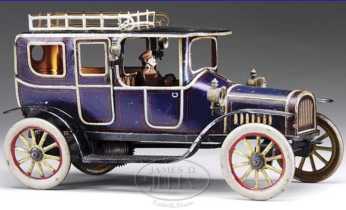 fischer georg blech spielzeug auto grosse limousine uhrwerk deluxe version blau