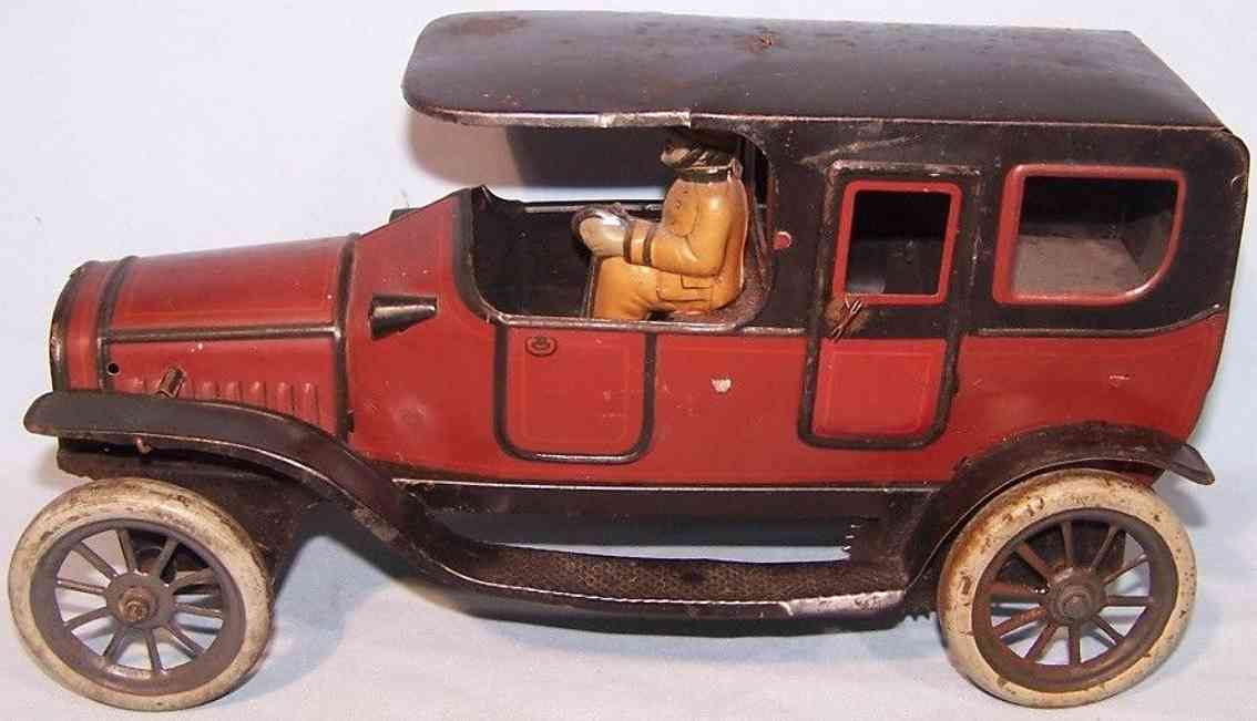 fischer georg tin toy car traveling sedan limousine spring mechanism brown black