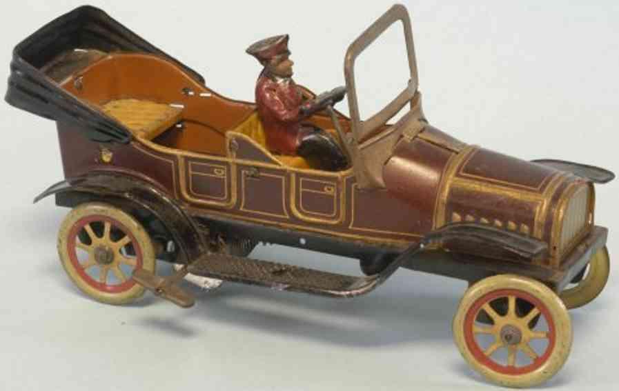 fischer georg tin toy car tourer open driver clockwork