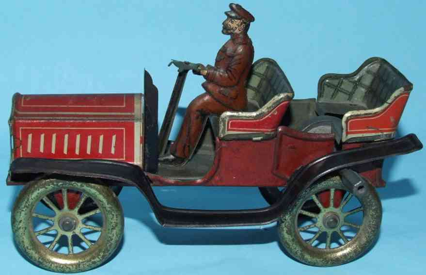 fischer georg tin toy car open tourer flywheel driver