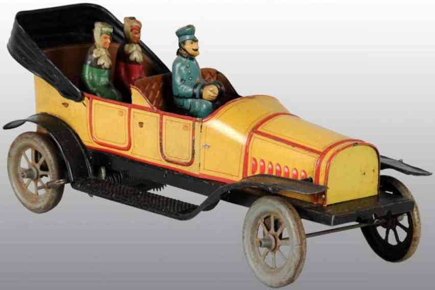 fischer georg tin wind-up toy car automobile driver passengers