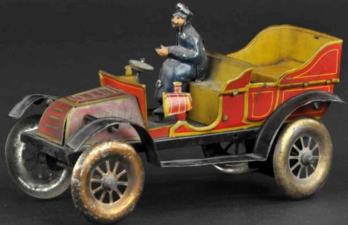 fischer georg tin toy car open auto clockwork driver