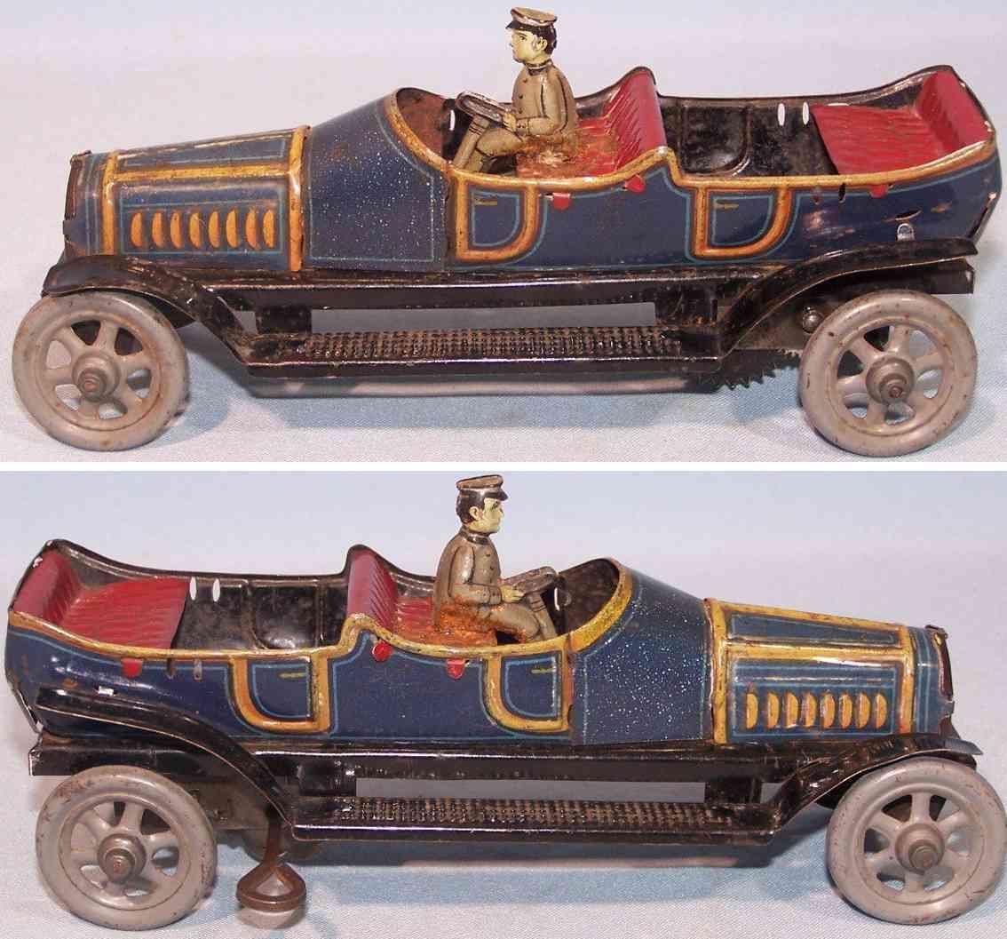 fischer georg blech spielzeug auto cabriolet uhrwerk blau