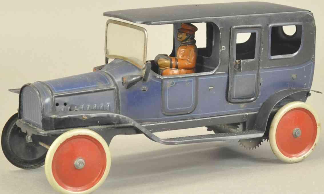 fischer georg blech spielzeug auto limousine blau schwarz fahrer uhrwerk