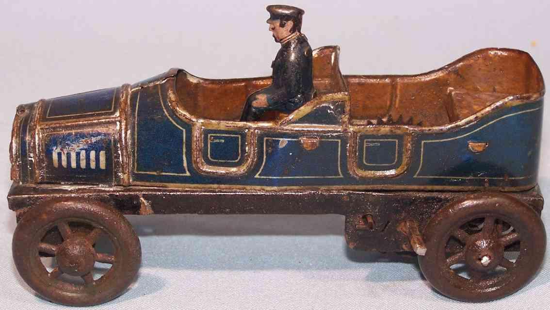 fischer georg tin toy car open limousine blue grey black clockwork